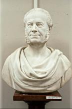 Marmeren buste van A. Bogaers door G. Geefs (1869: collectie Koninklijk Bibliotheek Den Haag)