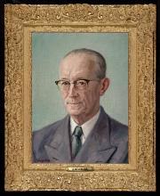 Portret van Louis Koopman, olieverf, door H. Yckelenstam (ca. 1958) [foto: Koninklijke Bibliotheek]