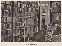 Willem Kloos bij zijn boekenkast (Koninklijke Bilbiotheek Den Haag, aanvraagnummer: KW 1430 B 49)
