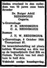 Annonce in Het Vaderland (9 oktober 1939)