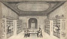 Maria de Wilde, Bilbiotheek van Jacob de Wilde met portretten van Jacob de Wilde en Tsaar Peter de Grote (ets)