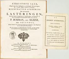 C.G. Saxe en P. Burman Secundus vochten publiekelijk een meningsverschil uit (Koninklijke Bibliotheek Den Haag, aanvraagnummer: KW Pflt 18839)